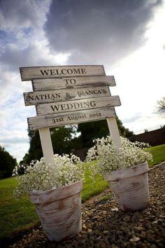 rustic wedding reception entrance sign / http://www.deerpearlflowers.com/country-rustic-wedding-ideas/ #weddingideas