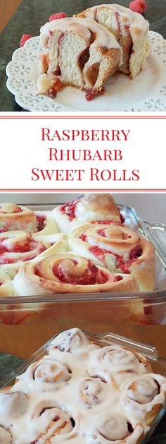 Raspberry Rhubarb Sweet Rolls Raspberries and Rhubarb, cooked down with a little sugar and thickened into a sauce made a very delicious filling for this sweet roll dough! Rhubarb Desserts, Rhubarb Recipes, Just Desserts, Delicious Desserts, Cooking Rhubarb, Yummy Treats, Sweet Treats, Raspberry Rhubarb, Raspberry Recipes