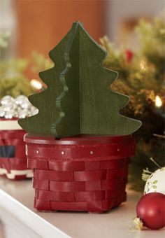 Longaberger 2013 Holiday Helper™ Christmas Tree Basket Set-63063 #christmas #longaberger