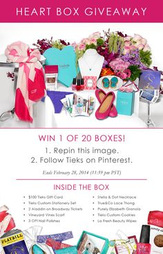 Giveaway: 20 Heart Boxes that include a $100 Tieks GC & treats that'll make your heart flutter! (1) Repin this image, (2) Follow Tieks on Pinterest: http://www.pinterest.com/tieks/