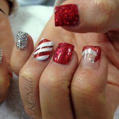 Christmas nails! Red & silver nails with rhinestone pinky nail, candy cane nail and Santa hat! Hand painted details.  KCNails
