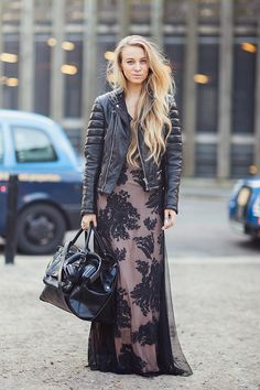 pretty meets edgy.... love a moto/maxi combo (you know it!)... Sandra in London. aces.