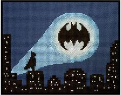 *Batman - Bat Signal Cityscape * Cross Stitch PDF Pattern Instant Download* The Bat Signal shines over the night cityscape whilst Batman watches