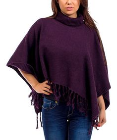 Another great find on #zulily! Plum Fringe Turtleneck Poncho #zulilyfinds