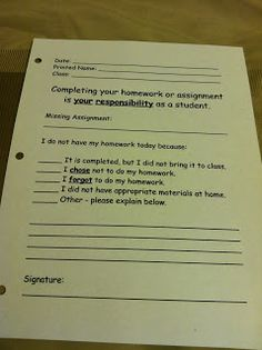 """No Homework"" note to send home to parents - (You will have to create your own)"