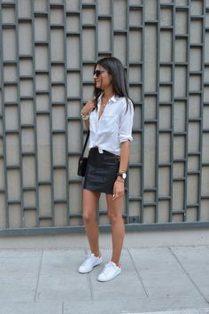 White shirt, black leather skirt, white trainers + black shoulder bag | @styleminimalism