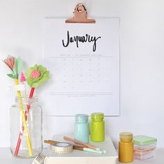 Keep organized and on task while staying pretty with 2017's Hand Lettered Calendar!