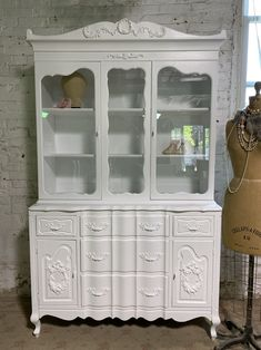 Painted Cottage Prairie Chic One of a Kind Vintage China Display Cabinet CC1108 Painted Cottage, Shabby Cottage, Cottage Chic, China Cabinet Display, Dovetail Drawers, Glass Knobs, Paris Apartments, Vintage China, Wood Construction
