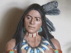 Ceramic Indian Hand painted by me. He stands 48 inches tall ~ Nancy Gil