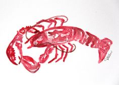 Solo Crawfish ORIGINAL Watercolor Painting 5x7inch by Waterpaint, $20.00
