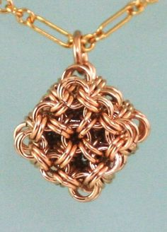 Chainmaille Gold Filled Micro Maille Japanese Cube Necklace | TheChainMailleLady - Jewelry on ArtFire