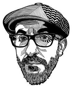 chin is a bit long though! Illustration by Danilo Agutoli Vector Portrait, Portrait Art, Art Watercolor, Usa Tumblr, Ink Pen Drawings, Pen Art, Portrait Illustration, Grafik Design, Doodle Art