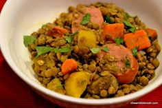 This was delicious, and so good for you!  The kids gobbled it up!  Lentils with Smoked Sausage and Carrots  easy #recipe at Chew Nibble Nosh