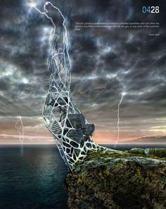 Hydra, el rascacielos hecho de grafeno que captura la energía de los rayos durante una tormenta