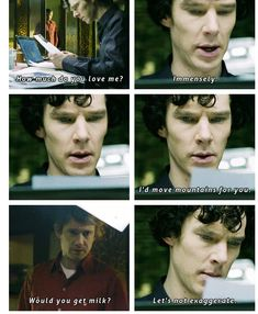"""What if that's how Sherlock announces he's back: John wakes up and finds milk in the fridge when he was certain he ran out yesterday."" Approve of Johnlock."