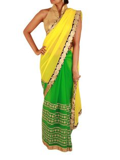 Parrot Green and Bright Yellow Net/Georgette Saree with Golden Thread – Sweta Sutariya
