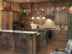 My Kitchen Cabinets...Rustic Maple with Black Glaze