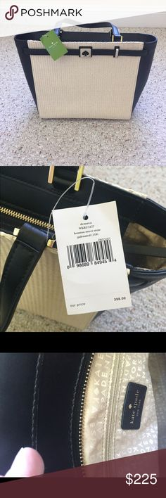 NWT kate spade Houston Street Straw Purse NWT kate spade Houston Street Straw purse is authentic. It features straw panels on the front and back of this bag. The sides, bottom and handles are black leather. The front panel has the iconic spade logo. One side panel has the Kate spade logo and name printed on it. In mint condition. Smoke Free Home. Open to all offers. kate spade Bags