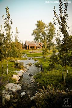 Check out the beautiful landscaping here, part of a custom home built by R. Ennis Montana, Montana Homes, House On A Hill, Log Homes, Water Features, Home Builders, Wyoming, Custom Homes, Pond