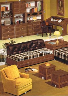 home 1974 living room by Herculon - Metarnews Sites 1970s Decor, Retro Home Decor, Vintage Decor, Vintage Ads, Vintage Interior Design, Vintage Interiors, Modern Interior, Nostalgia, Retro Room