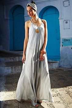 Pinstriped Maxi Dress via #Anthropologie
