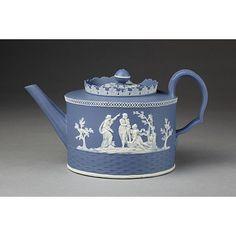Teapot and cover Place of origin: Hanley, England (made) Date: ca. (made) Artist/Maker: James Neale & Co. (maker) Materials and Techniques: Jasperware with white relief decoration and moulded Credit Line: Given by Mr H. Vintage Coffee, Vintage Tea, Blue And White China, My Cup Of Tea, Chocolate Pots, China Patterns, Wedgwood, Tea Party, Tea Cups