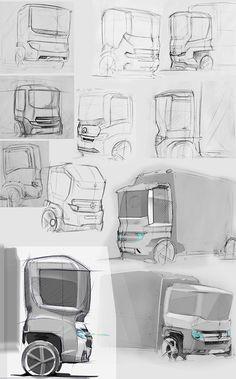 (IED) Mercedes-Benz light truck - work-in-progress Bike Sketch, Car Sketch, Car Design Sketch, Truck Design, Ev Truck, Level Design, Mercedes Benz Trucks, 4x4, Futuristic Cars