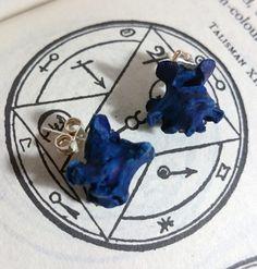 Pagan Earring studs Real Bone jewelry by Chris Richford Ooak Black blue magic bone earrings wiccan earring voodoo earrings occult earrings