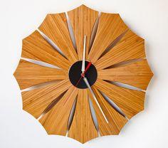 Modern Wall Clock // Bloom // amber bamboo by schmittdesign