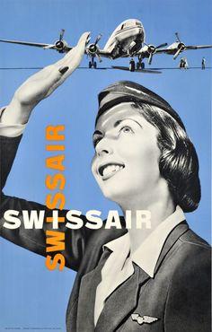 1952 Swissair Airlines vintage travel poster