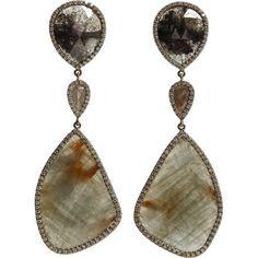 Monique Pean Atelier Opaque Grey Diamond & Sapphire Earrings