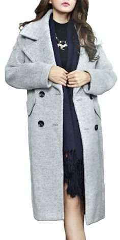 Searia Women Hot Double Breasted Trench Long Winter Warm Coat Jacket Overcoat Large