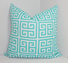 OUTDOOR Aqua blue & white geometric greek key pillow cover. All seams are finished with zipper closure. I size my covers to fit 18 inserts
