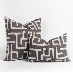 This faded charcoal and sandy beige lumbar pillow will add the graphic impact your space is craving and is the perfect bite-sized piece. The abstract and dynamic pattern has a hand-blocked look, and delivers artisanal flair with a modern edge in a perfectly snack-able size. Lumbar Pillow, Bed Pillows, Occasional Chairs, Pillow Inserts, Decorative Pillows, Charcoal, Artisan, Beige, Space