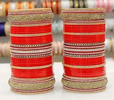 Wedding bangle - choora                                                                                                                                                                                 More Bridal Bangles, Bridal Jewelry Sets, Wedding Jewelry, Bridal Jewellery, Bollywood Bridal, Bollywood Jewelry, Indian Accessories, Wedding Accessories, Punjabi Traditional Jewellery