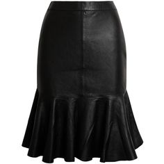 Iris & Ink Leather flared skirt ($325) ❤ liked on Polyvore