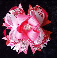 Princess Pink Bling Hair Bow2 w/Rhinestones
