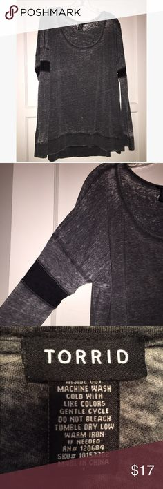Torrid long sleeve burnout top Torrid size 1 gray burnout top with black bands on arms. Slight hi-lo. Light, thin, and very soft fabric. Worn once. torrid Tops Tees - Long Sleeve