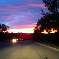 Colorful San Antonio sunset... had to slow down to catch it:)