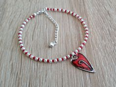 Red Heart Anklet Ankle Chain with Pearl Effect by CiaoBambinoUK