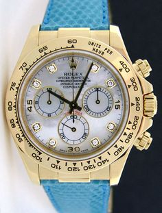 Rolex Cosmograph Daytona Gold Mother of Pearl Diamond Blue Leather Strap 116518 - http://menswomenswatches.com/rolex-cosmograph-daytona-gold-mother-of-pearl-diamond-blue-leather-strap-116518/ COMMENT.