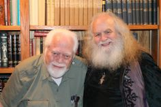 """LLEWELLYN CELEBRATES 'WIZARD & THE WITCH Lewellyn Worldwide publishing company president Carl Llewellyn Weschcke (left) and writer and speaker Oberon Zell Ravenheart, met for the first time in 40 years at Weschcke's St. Paul home this past weekend to celebrate Llewellyn's publication of Oberon's oral history, """"The Wizard and the Witch: Seven Decades of Counterculture, Magick & Paganism,"""" by John C. Sulak."""