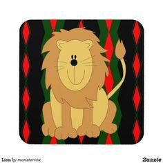 Lion Drink Coaster #Lion #Cat #Feline #Animal #Cartoon #Art #Children #Kids #Beverage #Drink #Coaster #Home