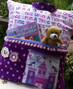 20 Ideas For Patchwork Bags For Children Easy Sewing Projects, Sewing Tutorials, Sewing Crafts, Book Pillow, Reading Pillow, Sewing Pillows, Kids Pillows, Quilted Pillow, Rag Quilt