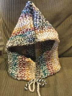 Loom knitted hooded cowl by Laura S Hooded Cowl, Loom Knitting, Hoods, Crochet, Crafts, How To Knit, Fabrics, Beanie Babies, Cowls