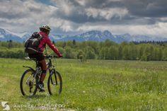 Mountain biking with an amazing view.