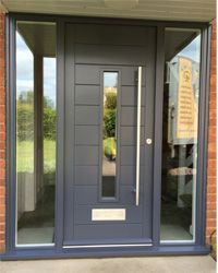 contemporary door, contemporary doors oak, modern front doors, modern entrance doors, contemporary f Front Door Porch, Grey Front Doors, Modern Front Door, Front Door Entrance, House Front Door, Glass Front Door, House With Porch, House Entrance, The Doors