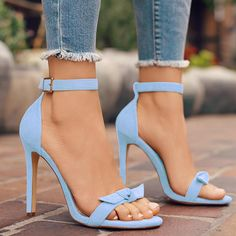 Summer Bow Tie Ankle Strap Stiletto Sandals Source by Fancy Shoes, Pretty Shoes, Beautiful Shoes, Gorgeous Heels, Ankle Strap Heels, Shoes Heels Boots, Heeled Boots, Bow Sandals, Sandal Heels
