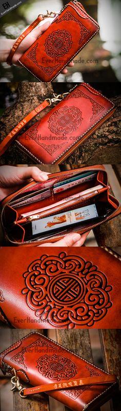 Handmade leather brown biker wallet clutch zip long wallet leather