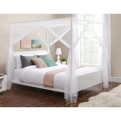 DHP Canopy Queen Metal Bed in White